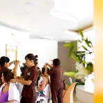 Destination wedding photographer | barcelo maya tropical resort Mexico | wedding photos | Bridesmaids in salon getting hair done