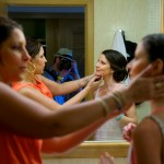 Destination wedding photographer | barcelo maya tropical resort Mexico | wedding photos | bridesmaid getting makeup put on