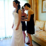 Destination wedding photographer | barcelo maya tropical resort Mexico | wedding photos | Bridesmaids do brides dress up
