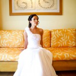 Destination wedding photographer | barcelo maya tropical resort Mexico | wedding photos | bride sitting on couch