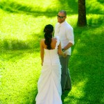 Destination wedding photographer | barcelo maya tropical resort Mexico | wedding photos | first look under palm tree