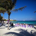 Destination wedding photographer | barcelo maya tropical resort Mexico | wedding photos | beach wedding ceremony by palm trees