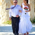 Destination wedding photographer | barcelo maya tropical resort Mexico | wedding photos | Bride walking down with dad