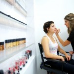 Calgary wedding photographer | Bride getting makeup done eyes