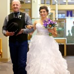 Calgary wedding photographer | Holy spirit catholic church wedding | Father of the bride walking bride down isle
