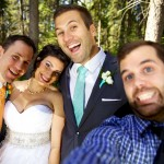 Calgary wedding photographer | Fish Creek Park wedding photos | Bride and groom with photographer photobombing
