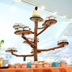 Calgary wedding photographer | Spruce Meadows wedding photos | Orange and teal with wooden cupcake tower tree