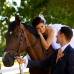 Calgary wedding photographer | Spruce Meadows wedding photos | Bride on horse with groom