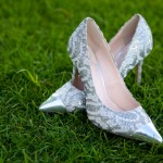 Calgary wedding photographer | Spruce Meadows wedding photos | Bride's shoes, silver and white