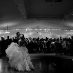 Calgary wedding photographer | Spruce Meadows wedding photos | Bride and groom first dance black and white
